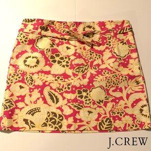 J CREW Cream/Pink Floral Print Pencil Cotton Skirt